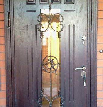 03 Входная дверь частный сектор + кованные элементы + стеклопакет