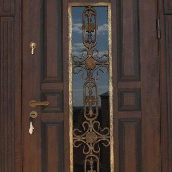 07 Входная дверь в дом + кованные элементы + стеклопакет + патина