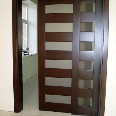 09 Межкомнатные раздвижные двери со стеклом + глухая фрамуга