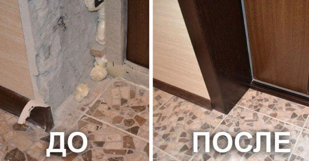 10. Отделка откосов входной двери (фальшкороб)