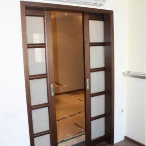 13 Межкомнатные раздвижные двери со стеклом