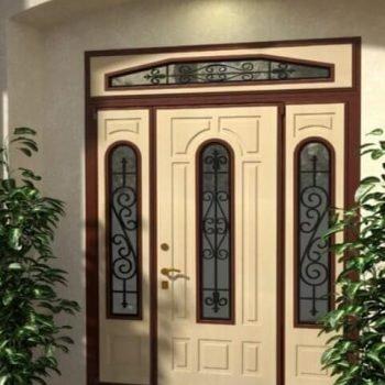 14 Входная дверь в дом + кованные элементы + стеклопакет + нестандарт