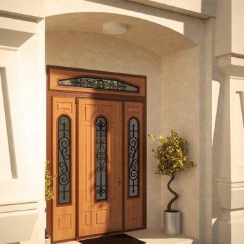 21 Входная дверь частный сектор + кованные элементы + стеклопакет + нестандарт