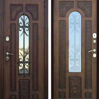 27 Входная дверь в коттедж + кованные элементы + стеклопакет + патина