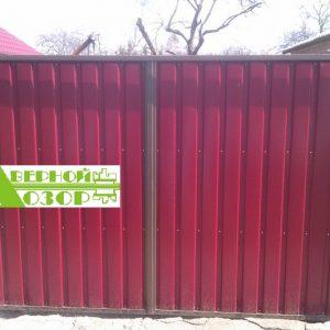 6 Ворота из профнастила красные