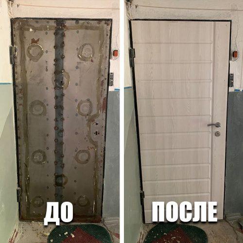 3. Реставрация двери: мдф накладка, замки, фурнитура